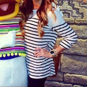 Black and white stripped long sleeve tunic